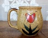 Vintage Stoneware Mug - Heart Flowers