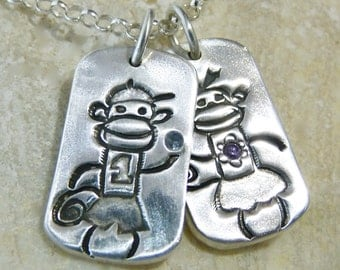 My Little Monkey Personalized with Birthstone Charm Pendant