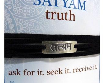 Sanskrit Imitation Leather Wrap Bracelets Satyam Truth