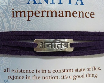 READY TO SHIP Sanskrit Imitation Leather Wrap Bracelets Anitya Impermanence