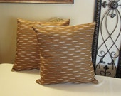 "Pillow Covers ONLY - Set of Two 14""x14"" Covers - Cinnamon Color Brown with White  -  Item PLW-531271"