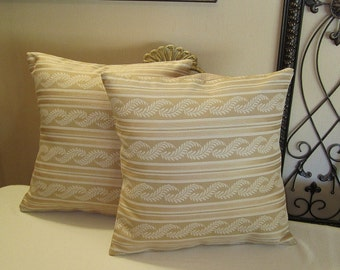 """Pillow Covers ONLY - Set of Two 14""""x14"""" Covers - Pale Gold Stripe  -  Item PLW-517271"""