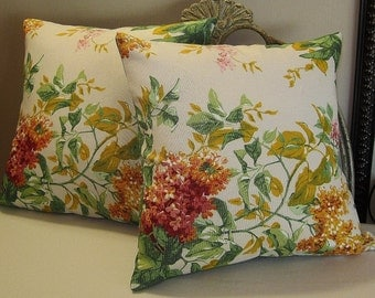 "Pillow Covers - Set of Two 14""x14"" Covers - Ivory with Yellow and Pink Lilac -  Item PLW-518271"