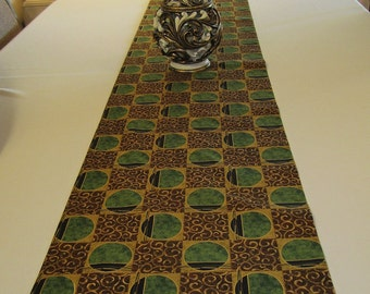 Table Runner  - Brown and Green Geometric Design - 59 x 13 -  Item TR-528271