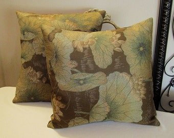 "Pillow Covers ONLY - Set of Two 14""x14"" Covers - Brown Background with Iridescent Flowers - Item PLW-530351"