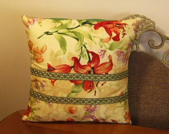 """Pillow Cover ONLY - Yellow with Orange Day Lily - 14"""" x 14"""" -  Item PW001006"""