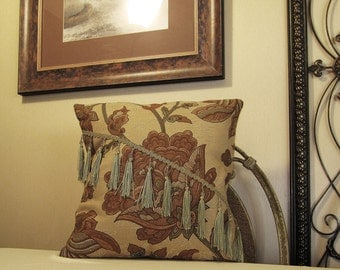 "Pillow Cover ONLY - Beige with Large Medium Brown Floral Pattern - 14"" x 14"" -  Item PW007006"