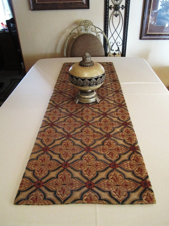 "Table Runner - Elegant Tapestry Pattern - Beige, Red and Navy Pattern - 54""x18"" - Item TR104014"
