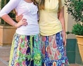 Pink Fig Hippy Chick Stripwork Skirts Sewing Pattern