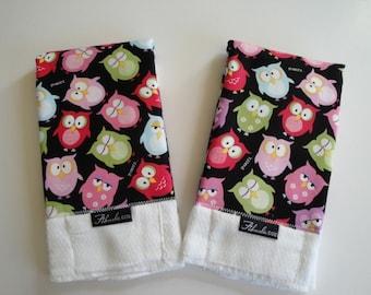 Sleepy Hoot Owls Baby Burp Cloth Set (2)