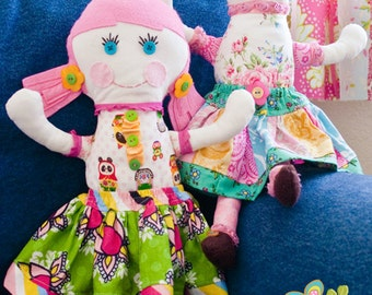 Pink Fig Roxy and Lola Ragdolls Sewing Pattern, FREE SHIPPING
