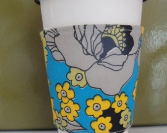 Vintage Flowers on Blue Coffee Cuff, FREE SHIPPING