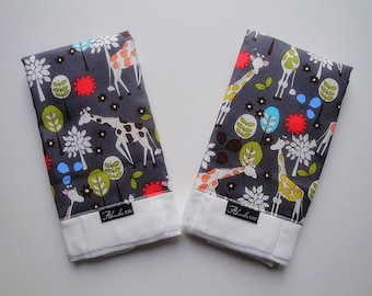 Michael Miller Giraffes in Grey Baby Burp Cloth Set (2)