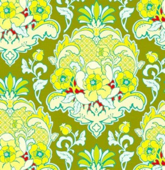 Custom Listing, Heather Bailey Pop Garden Pineapple Brocade Celery Fabric, 1 yard