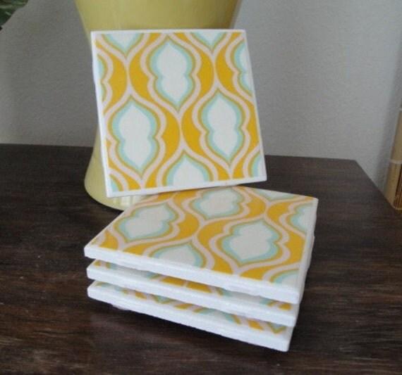 Heather Bailey Pocketbook Tile Coasters Set (4)