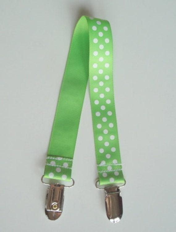 Lime Dot Bib Stroller Nursing Clip