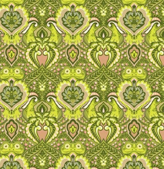 Tula Pink Prince Charming Frog Prince Olive Fabric, 1 yard