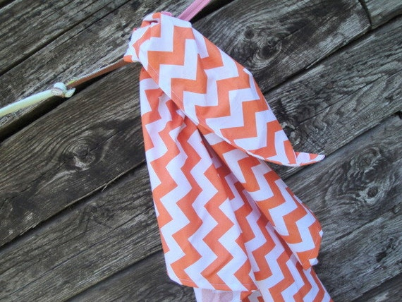 Orange Chevron Blanket Swaddler Light: Receiving Blanket, Swaddling Blanket