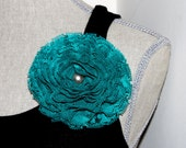 Giant Teal Lace Blossom Brooch with Pin and Clip Back