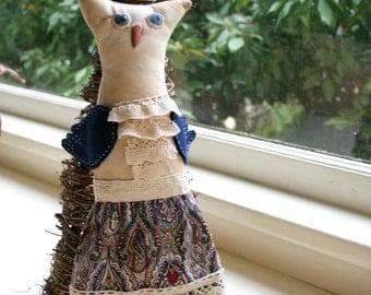SYLVIA: 17 inch OOAK Primitive Owl Art Doll