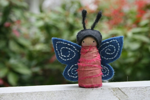Embroidered Felt, Recycled Sari Silk and Wood Peg Butterfly Fairy