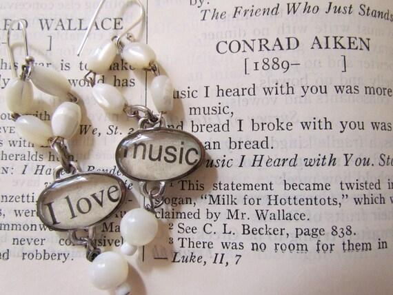 I Love Music Dangle Earrings