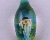 lampworked glass jellyfish pendant - by Jeremy Babikow