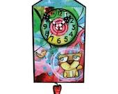 Kitty Kitty House Pendulum Clock SALE