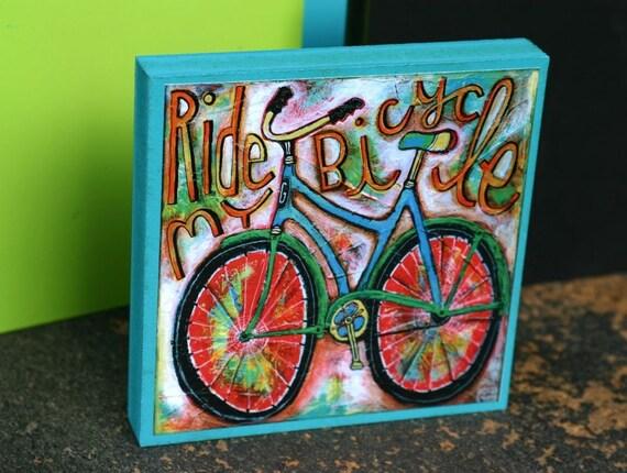 Large Ride my Bicycle Art Blox