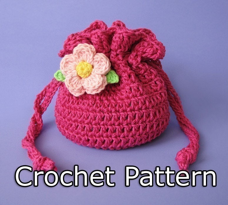 Small Bag Crochet Pattern : PDF Crochet Pattern Drawstring Bag / Pouch by KikisCrochet