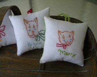Vintage Cat Kitten Embroidered Christmas Pillow Ornament