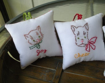 Vintage Dog Embroidered Christmas Pillow Ornament