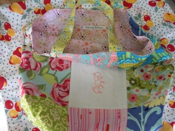Vintage Pink Poodle Patchwork Tote Bag