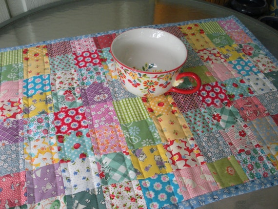 Postage Stamp Table Runner Table Topper Quilt