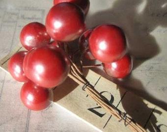 Vintage Millinery German Coral Red Berry Cluster