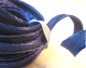 """5 Yards of Tiny Wired Ribbon Midnight Blue (1/4"""")"""