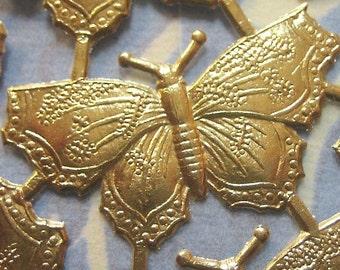 Gold Foil Dresden Butterflies 1.5 in.  (44 butterflies)