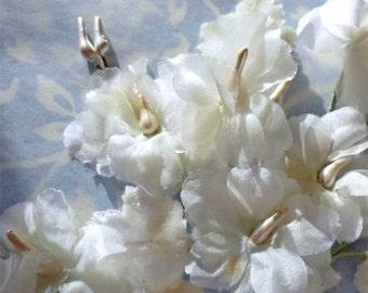 Vintage Millinery White Flower Spray with White Velvet Leaves