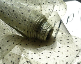 "11 Yards of Soft Olive & Black Polka Dot Ribbon (1"")"