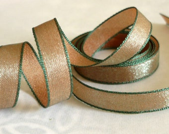 """10 Yards of Iridescent Forest Green and Copper Satin Ribbon (3/8"""")"""
