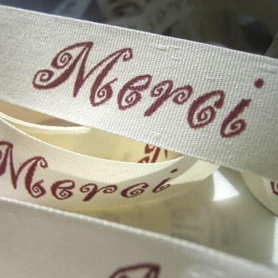 Merci Ribbon Cream and Burgundy (5 yards)