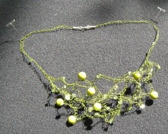 exquisite Crocheted Celedon Necklace