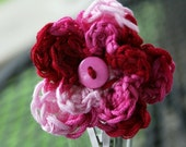 Small Crochet Three Toned Pink Double Flower Hair Clip