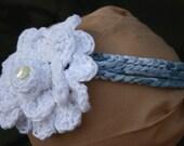 Crochet Tye-Dye Blue TShirt Yarn Adjustable Headband with White Crochet Double Flower