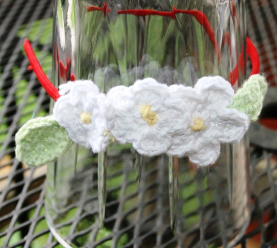 Crochet Cotton Flowers with Headband Set - Removable and Interchangeable Flowers