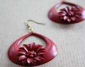 Vintage Scarlet Red Swinging Daisy Hoops