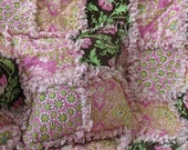 Baby Girl Rag Quilt and Pillow Set Amy Butler Daisy Chain