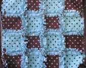 Baby Rag Quilt Minky Blanket Aqua and  Brown Polka Dots