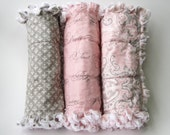 Baby Girl Burp Cloths Fleur De Lis Pink Gray Set of Three