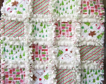 Christmas Security Blanket | Minky Baby Quilt | Mini Quilt | First Christmas | New Baby Gift | Lovey Blanket